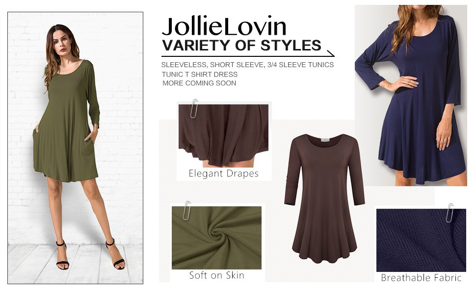 Up to 45% OFF JollieLovin Women's Casual Swing 3/4 Sleeve Pockets T-Shirt Loose Dress