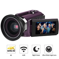 LAKASARA 4K Ultra HD Video Camera Wifi and IR Night Vision Camcorder 52% OFF Deal Today