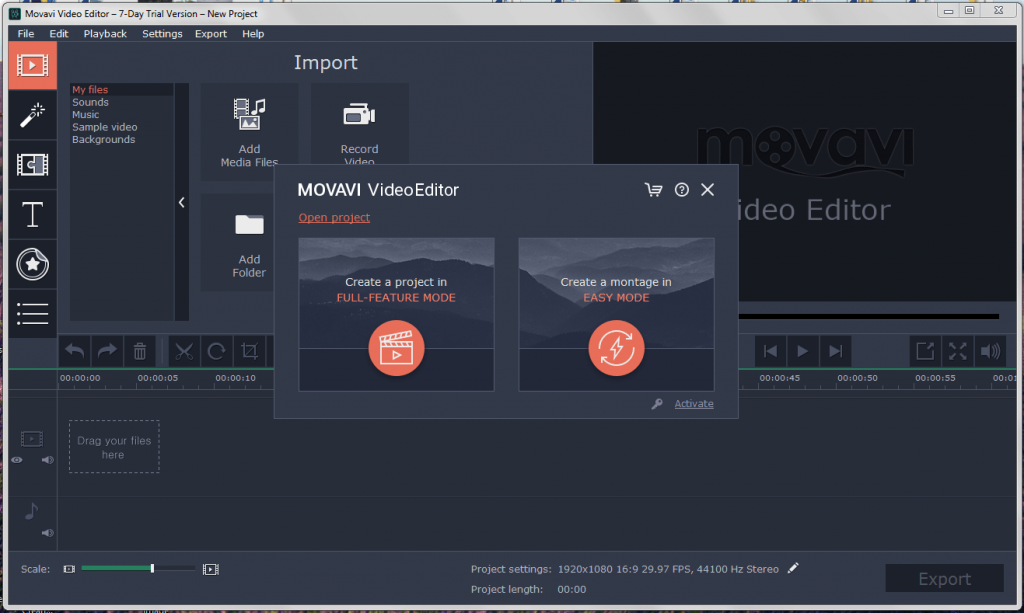 Movavi Video Editor Interface