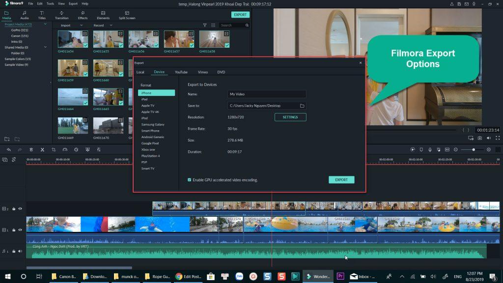 Filmora Export Options