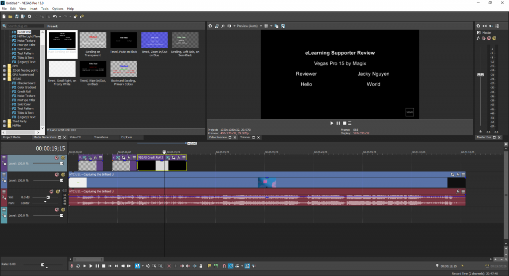 VEGAS Pro 15: One of the most professional video editing software that works on any computer!
