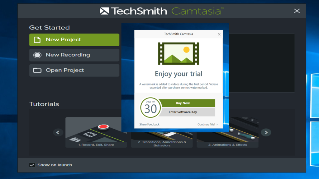 Camtasia 2018 Starting Screen
