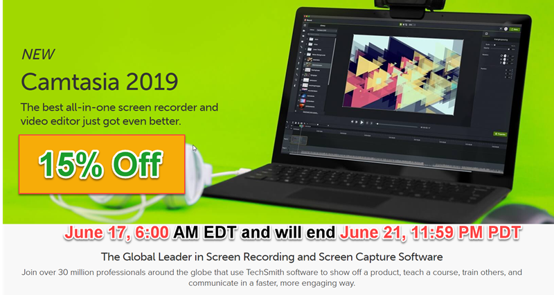15% Off Discount TechSmith Camtasia & Snagit June 2019