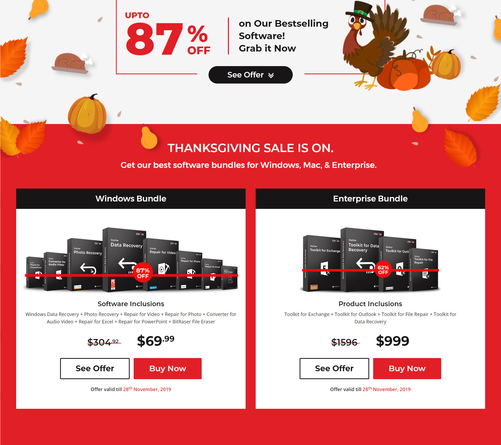 87% Off Stellar Data Software Thanksgiving Day 2019