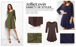 Up to 45% OFF JollieLovin Women's Casual Swing 3/4 Sleeve Pockets T-Shirt Loose Dress